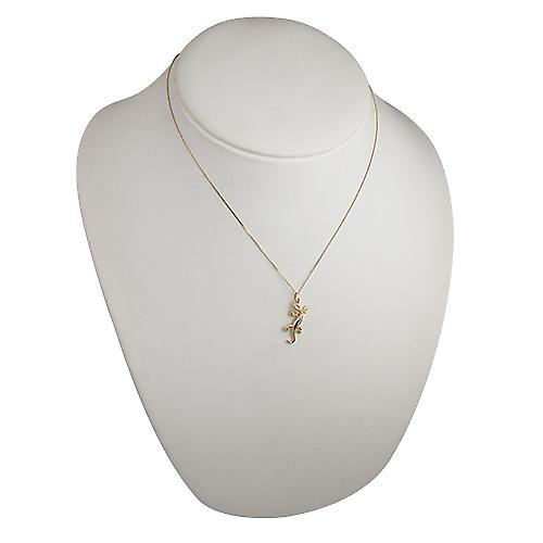 9ct Gold 26x13mm Lizard Pendant with a curb Chain 18 inches