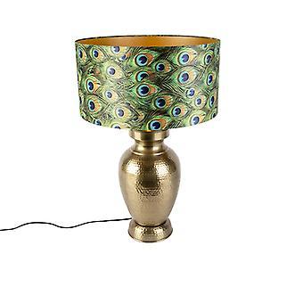QAZQA Vintage Table Lamp Gold with Velvet Peacock Shade - Hazard B