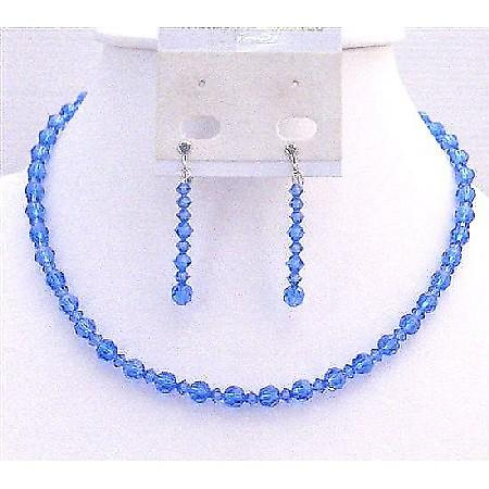 Sapphire Crystals Round Bead Crystals Necklace Prom Swarovski Jewelry