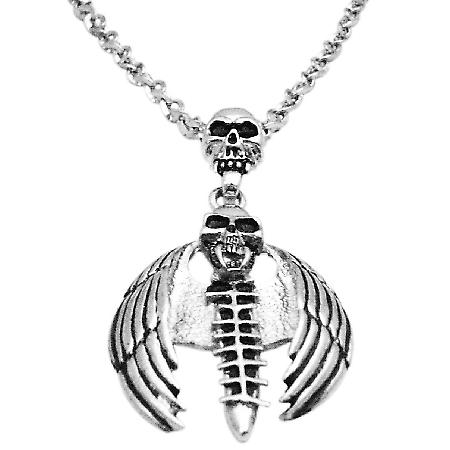 Bat Skull Halloween Pendant Necklace 24 Inches Long Necklace