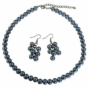 Affordable Bridal Bridesmaid Dark Gray Pearls Necklace Set w/ Bunches Of Pearls Earrings