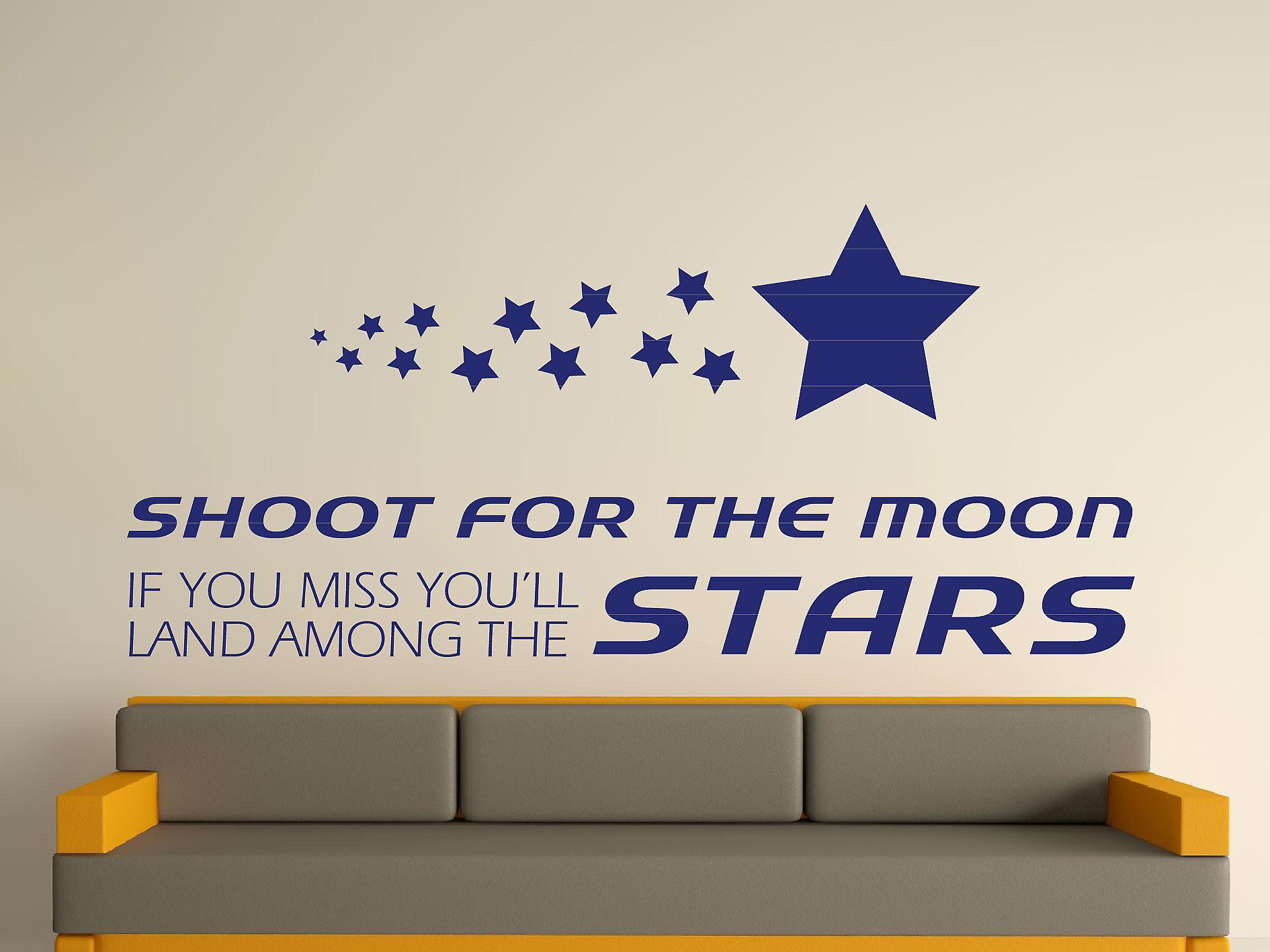 Shoot For The Moon Wall Art Sticker - Ultra Blue