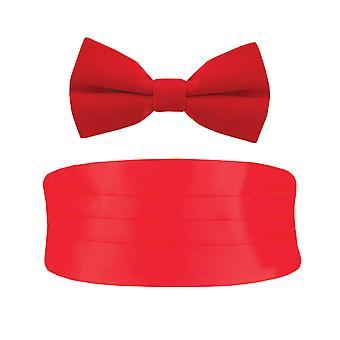 Dobell Mens Red Cummerbund & Bow Tie Set Pre-Tied Tuxedo Evening Wear Accessories