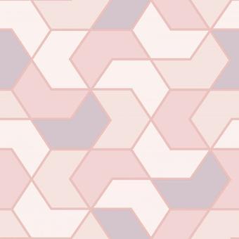 Hexagone géométrique blanc rose fond d'écran métallique Sheen Glitter Rasch moderne