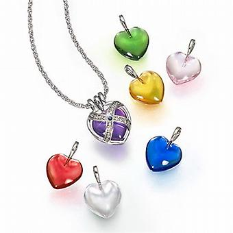 TOC 7 Interchangeable Genuine Sapphire Caged Heart Pendant On 18 Inch Chain