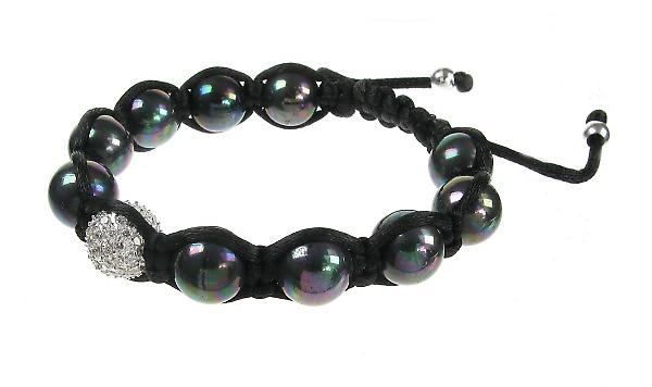 Cavendish French CZ and Black Pearl Threaded Bead Bracelet