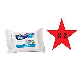 Milton antibacteriële oppervlakte doekjes 30pk Bundle 2 packs geleverd