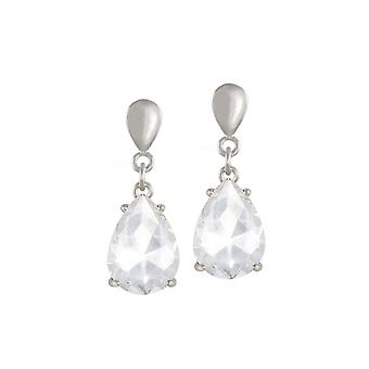 Eternal Collection Seduction Teardrop Clear Crystal Silver Tone Drop Clip On Earrings