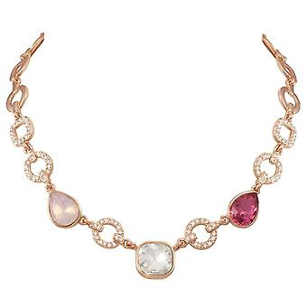 Eternal Collection Veronique Multi Crystal Rose Gold Tone Statement Necklace