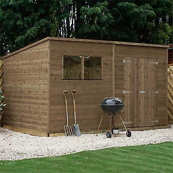 Mercia 12x5ft Pressure Treated FSC Wooden Shiplap Pent Garden Shed with Glazed Windows