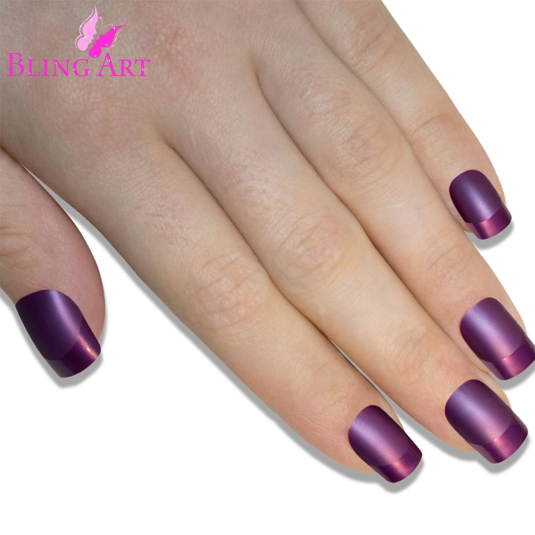 False nails by bling art purple matte french manicure fake medium tips with glue