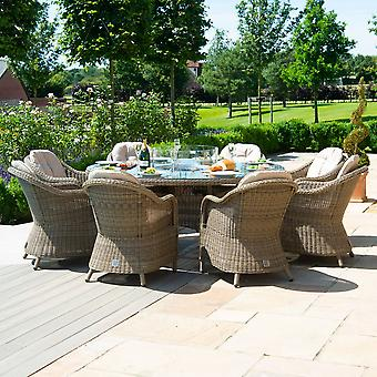 Maze Rattan Winchester 8 Seat Round Heritage Dining Set with Fire Pit