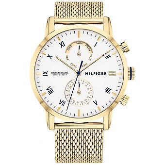 Tommy Hilfiger | Men's Gold Steel Mesh Bracelet | White Dial | 1710403 Watch