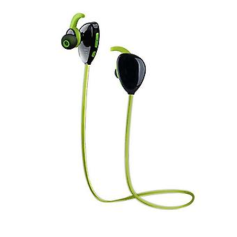 Green wireless bluetooth headphones with mic and ear hooks design for running