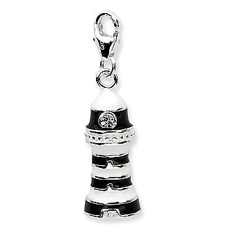 925 Sterling Silver Rhodium plaqué Fancy Lobster Closure 3-d Enameled Lighthousew Lobster Clasp Charm - Mesures 33x9mm