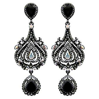 Butler & Wilson Black Crystal Tulip Shape Long Drop Earrings