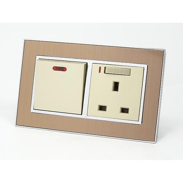 I LumoS AS Luxury Satin Gold Metal 20A Switch with Switched Neon 13A UK Socket