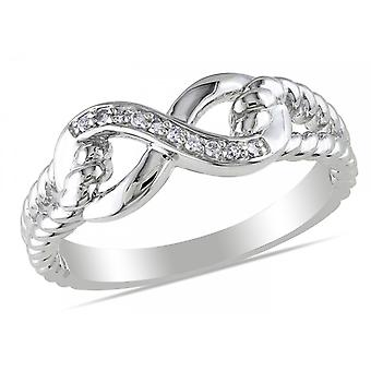 Affici Sterling Silver Kiss Infinity Ring  18ct White Gold Plated ~ Diamond CZ Gems