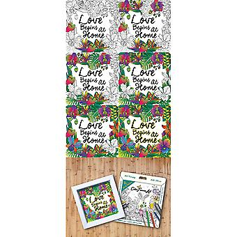 Adult Coloring Foldable Canvas Frame Assortment 4/Pkg-White Happy Home H1602