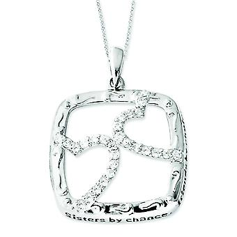 Sterling Silver Antiqued CZ Sisters By Chance 18inch Hearts Necklace