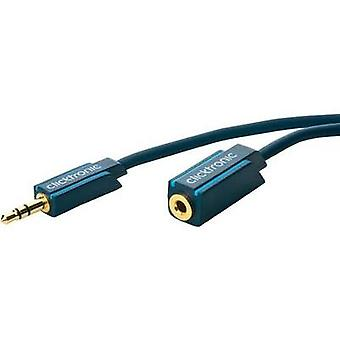 Jack Audio/phono Cable [1x Jack plug 3.5 mm - 1x Jack socket 3.5 mm] 3 m Blue gold plated connectors clicktronic