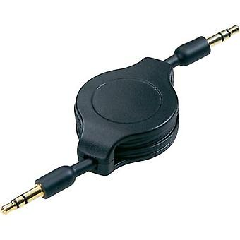 Jack Audio/phono Cable [1x Jack plug 3.5 mm - 1x Jack plug 3.5 mm] 1.10 m Black incl. recoiler, gold plated connectors S