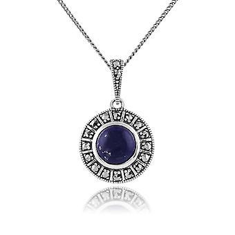 Gemondo 925 Sterling Silver 1.53ct Lapis Lazuli & Marcasite Art Deco Necklace