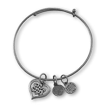 Celtic Heart Silver Plated Expandable Charm Bracelet