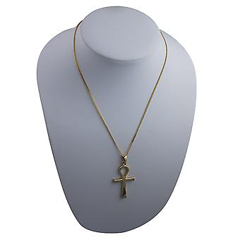 9ct Gold 44x26mm plain Ankh or Peace Cross with bail on a curb Chain 24 inches