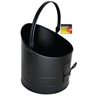 Round Fireside Bucket With Handle Black Coal Logs Fireplace