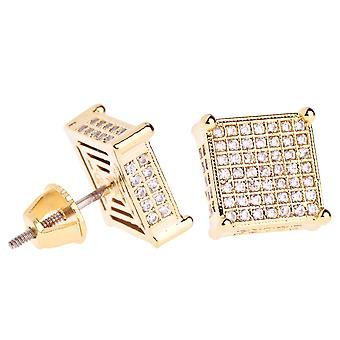 Iced out bling micro pave earrings - FAT SIDE 10 mm gold