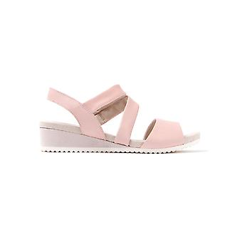 Women's Cross Strap Leather Wedge Sandals - Rose
