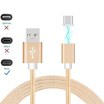 ONX3 (Gold) Magnetic Micro USB Nylon Braided Fast Rapid Charging & Data Syc Transfer Cable with LED light Indicator for Nokia Lumia 930