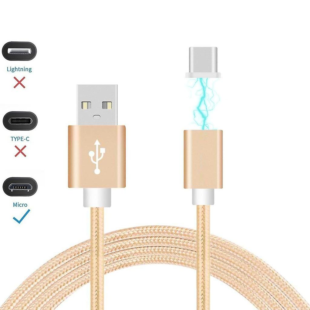 ONX3 (Gold) Magnetic Micro USB Nylon Braided Fast Rapid Charging & Data Syc Transfer Cable with LED light Indicator for Motorola Moto G / Moto G 4G