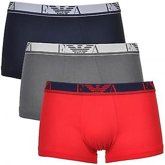 Emporio Armani Coloured Stretch Cotton Logo 3-Pack Trunk, Red/Marine/Grey, X-Large
