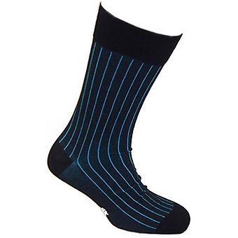 Tyler and Tyler Pinstripe Socks - Blue/Black