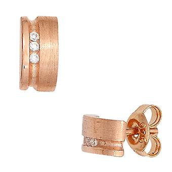 Earrings 925 sterling silver red gold plated partially frosted 6 cubic zirconia earrings silver