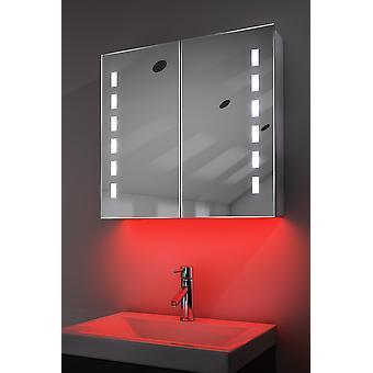 Demist Cabinet With LED Under Lighting, Sensor & Internal Shaver k361