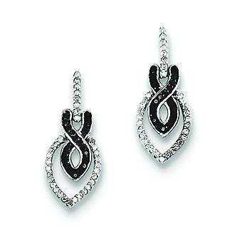 Sterling Silver Black and White Diamond Earrings - .33 dwt