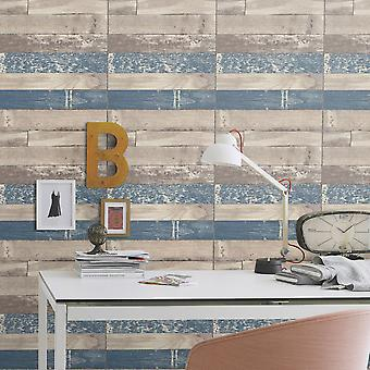 Wood Effect Wallpaper Textured Washable Vinyl Distressed Panel Board Plank Rasch