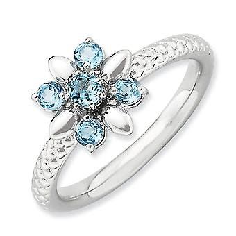 2.5mm Sterling Silver Polished Prong set Rhodium-plated Stackable Expressions Blue Topaz Ring - Ring Size: 5 to 10