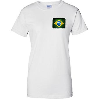 Brazil Grunge Grunge Effect Flag - Ladies Chest Design T-Shirt