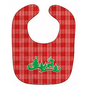 Carolines Treasures  BB6972BIB Christmas Tree Reindeer Red Baby Bib
