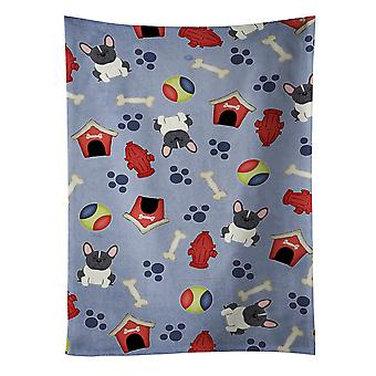 Dog House Collection French Bulldog Black White Kitchen Towel