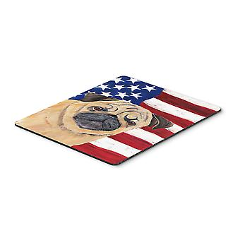 Carolines Treasures  SC9006MP USA American Flag with Pug Mouse Pad, Hot Pad or T