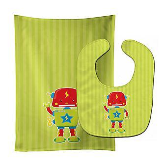 Carolines schatten BB9085STBU Robot #3 Baby Slabbetje & Burp doek
