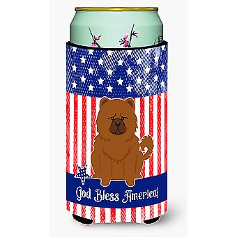 Patriotic USA Chow Chow Red Tall Boy Beverage Insulator Hugger