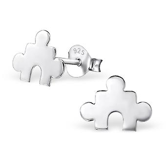 Puzzle - 925 Sterling Silver Plain Ear Studs