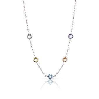 Sterling Silver Multi Color Stones on Textured Rolo Chain Necklace ,18 Inch