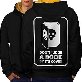 Judge Book Skeleton Funny Men Black (Gold Hood)Contrast Hoodie Back | Wellcoda